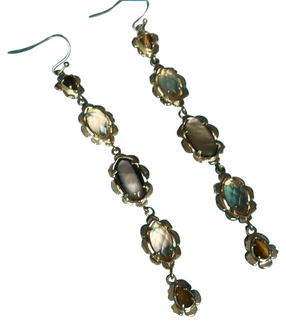 Item - Brown Pearl and Clear Peach Stones On Gold Tone Statement Earrings