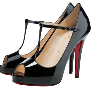 Christian Louboutin Peep Toe Patent Red Bottoms Patent Black Platforms