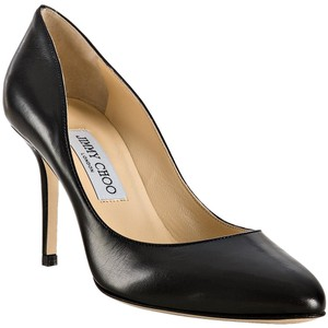 Jimmy Choo Leather Almond 247 Black Pumps