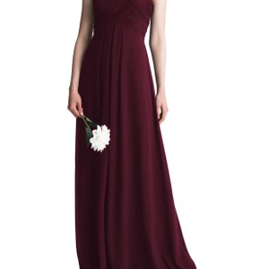 Bill Levkoff Wine Chiffon Halter A-line Gown Feminine Bridesmaid/Mob Dress Size Petite 6 (S)