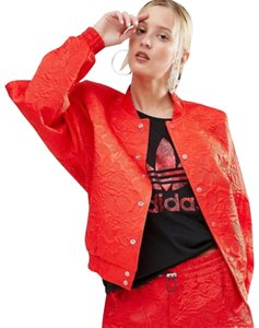 adidas Streetwear Satin Casual Bomber Lace Red Jacket
