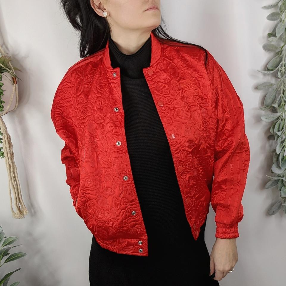 03989e1b0914 adidas Streetwear Satin Casual Bomber Lace Red Jacket Image 0 ...