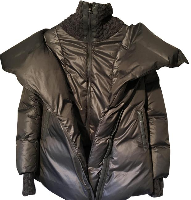Item - Gray 6 Silvery-grey Puffer Parka Knit Leather Trim Down Jacket Coat Size 8 (M)