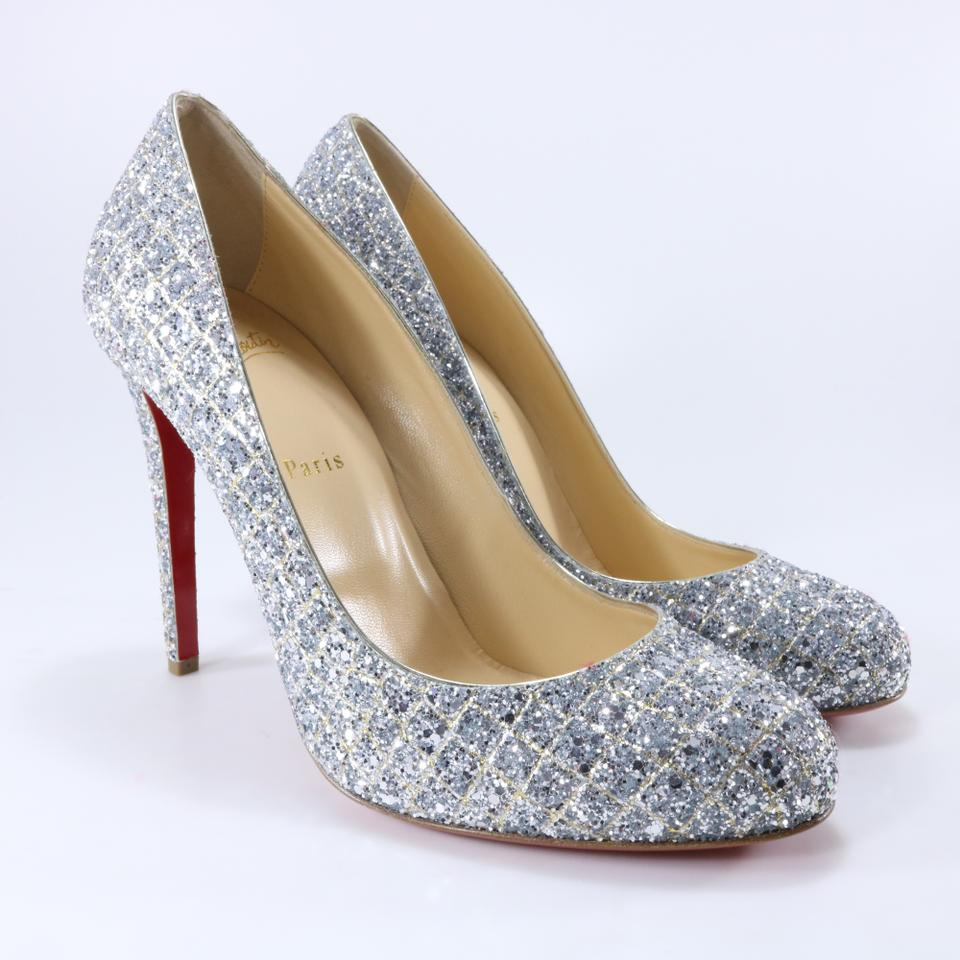 ba5118461e5 Christian Louboutin Silver Gold Fifille 100mm Aliglitter Rounded Toe ...