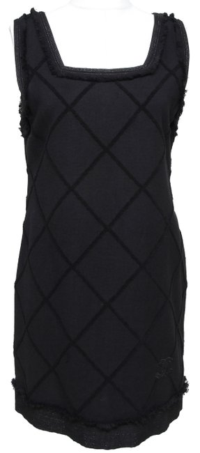 Item - Black Mademoiselle Tweed Sleeveless Quilted Cotton 42 Short Casual Dress Size 8 (M)