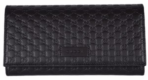 Gucci New Gucci Women's 449396 Black Leather Micro GG Continental Wallet