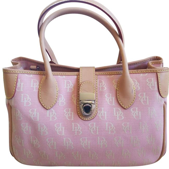 Item - Pink and Cream Canvas Monogram with Light Beige Leather Accents. Cute Silver Buckle Closer. Shoulder Strap Included. 3 W/ Tote