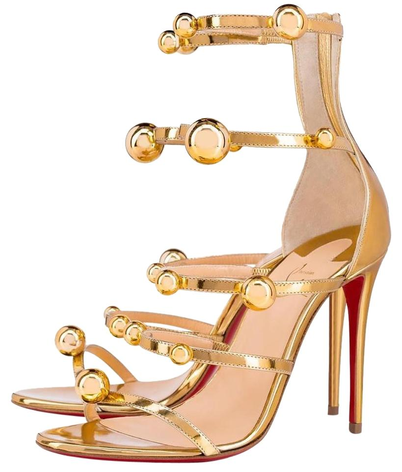 0ee31e58fe8b Christian Louboutin Gold Specchio Atonana 100mm Ball Strappy Heels Sandals  B088 Pumps