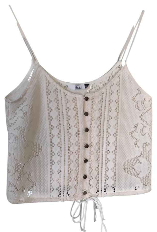 685196a14f7 Dolce Vita White/Cream Cropped Lace Print with Tie Bottom Tank Top/Cami