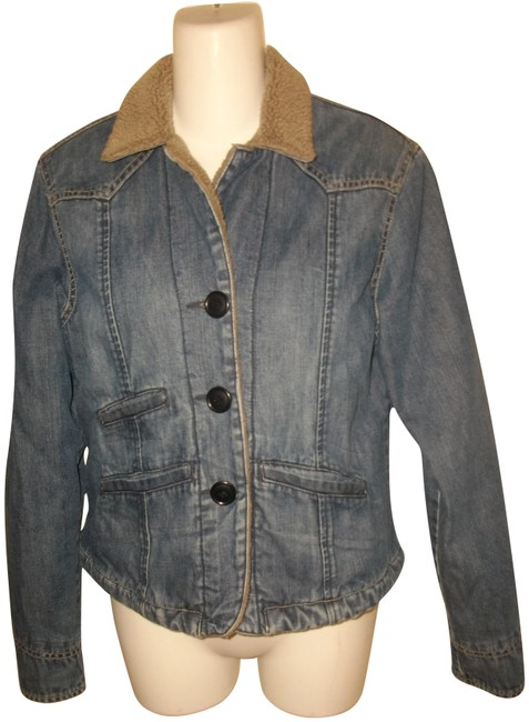 Item - Blue Cotton Fleece Lined Button Front Jacket Size 6 (S)