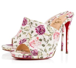 Christian Louboutin Flower Snakeskin Classic White, pink, green, purple Mules