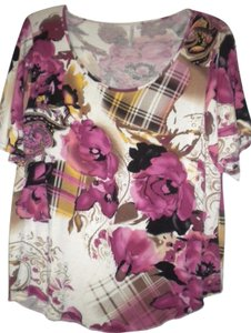 Analogy Sleeve Floral T Shirt Multi-Color
