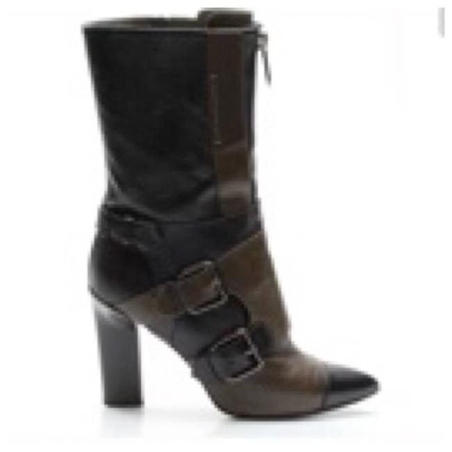 Item - Black Military Leather Monolith Mid-calf Women Boots/Booties Size US 7 Regular (M, B)