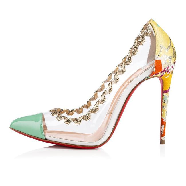 Item - Opal Mint Green Clear Gold Yellow Orange Pvc Lisabeth 100mm B094 Pumps Size EU 39.5 (Approx. US 9.5) Regular (M, B)