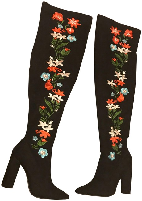 Item - Black Thigh High Floral New Boots/Booties Size US 8 Regular (M, B)