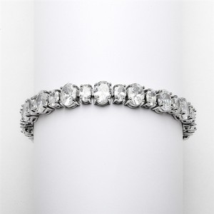 Mariell Spectacular Multi Ovals Silver Rhodium Cubic Zirconia Wedding Or Pageant Bracelet 4125b-s-6