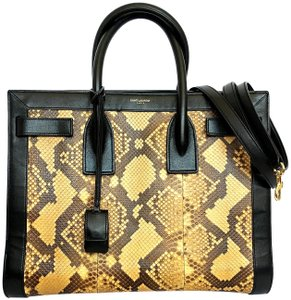 Saint Laurent St. Snake Python Sac D Jour Satchel in Multi