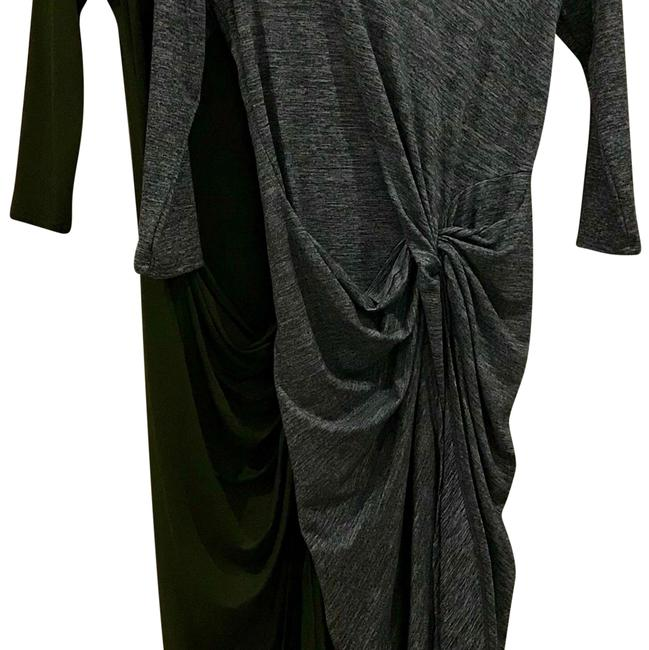 Item - 2 Dresses Space Dye Grey/Cargo Green 3/4 Length Sleeve Knot Mid-length Work/Office Dress Size 4 (S)