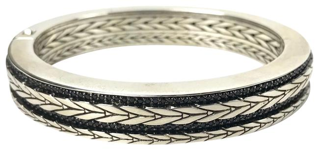 Item - Silver/Black Modern Chain Double Row Sapphire Hinged Bangle Cuff Bracelet