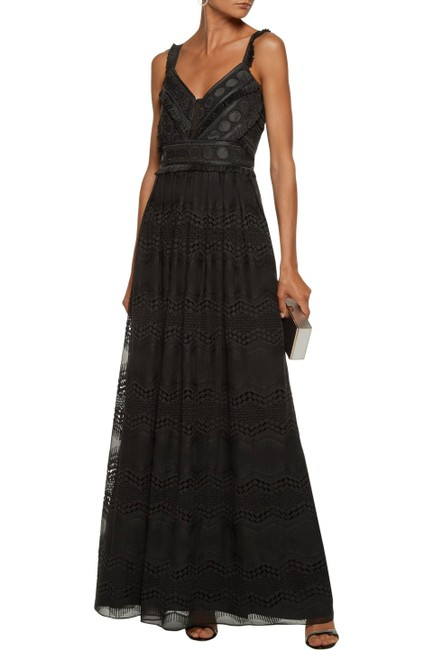 Item - Black Duntel Crochet Knit-paneled Embroidered Chiffon Gown Long Formal Dress Size 4 (S)