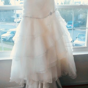 Cream Tulle Colored Corset Top with Flowy Layer Bottom with Small Train Formal Wedding Dress Size 24 (Plus 2x)