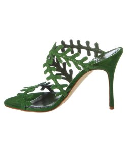 Manolo Blahnik Open Toe Crisscross Strap Green Sandals