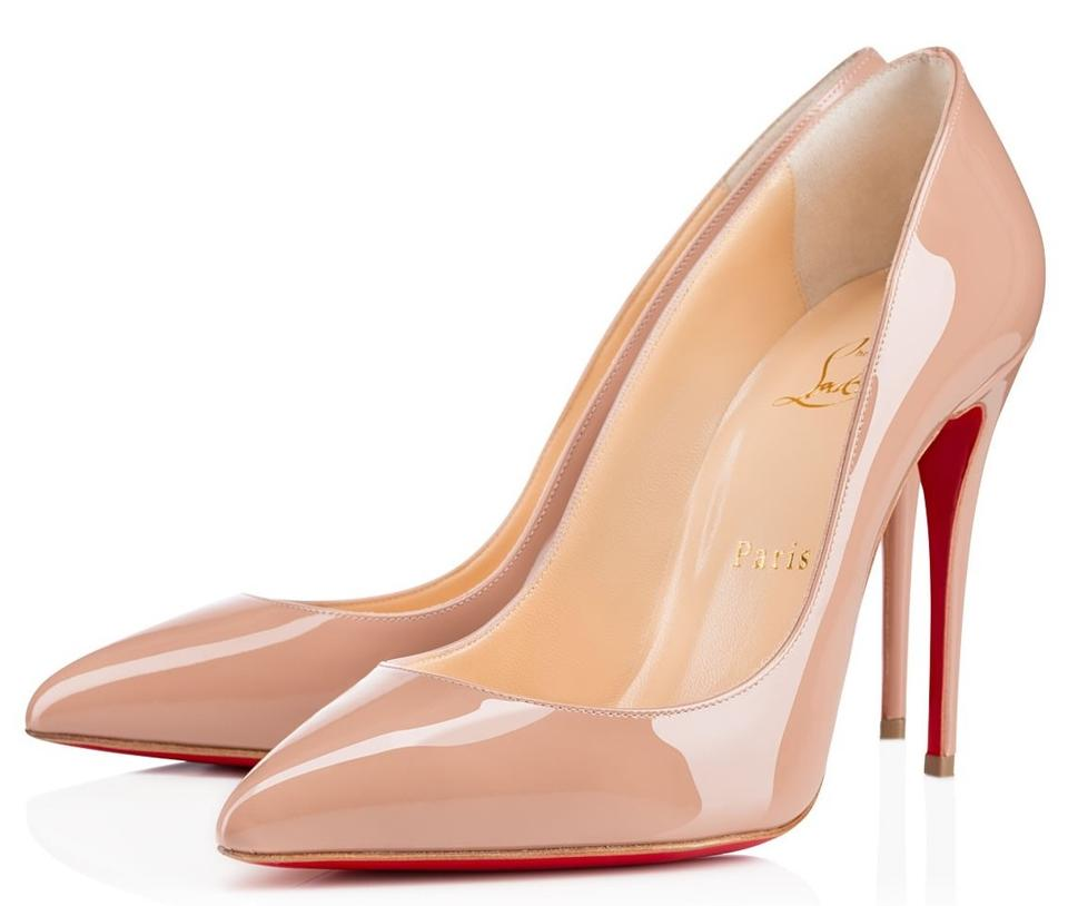 new high buy popular available Christian Louboutin Nude Rose Pigalle Follies Classic 100mm Patent ...