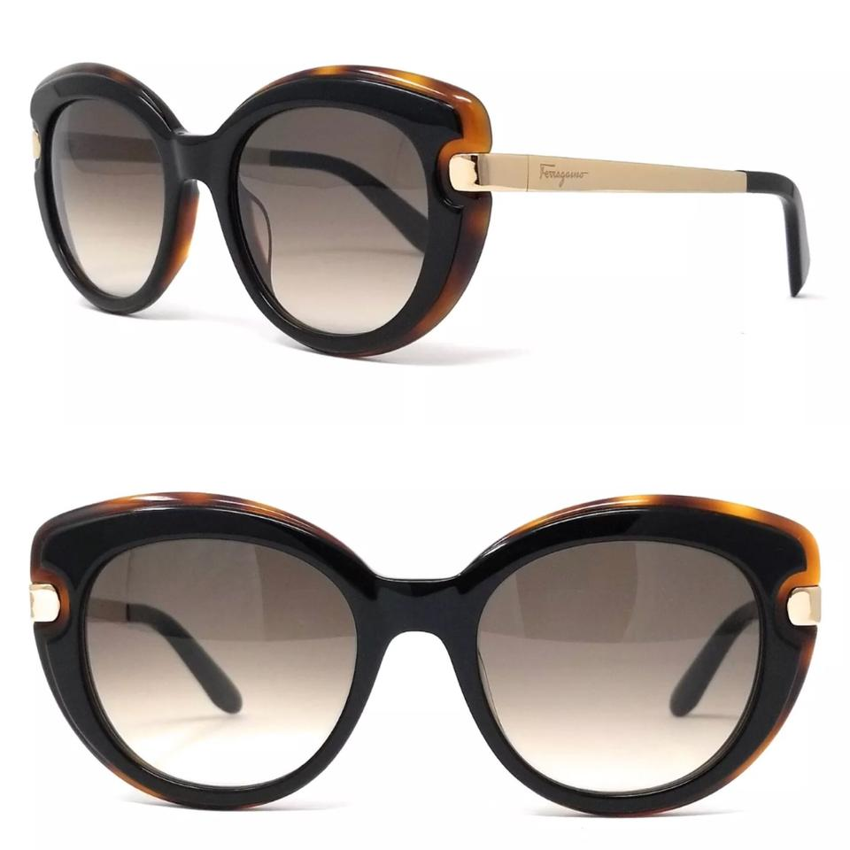 806e5944f392 Salvatore Ferragamo Black Havana Sf813s 006 Cat Eye Sunglasses - Tradesy