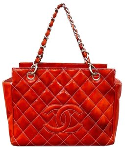Chanel Patent Petit Timeless Shopping Ptt In Orange Red Tote
