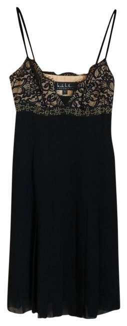 Item - Black W/ Nude Lining @ Bust & Gold Beading Silk with Lace Short Cocktail Dress Size 2 (XS)