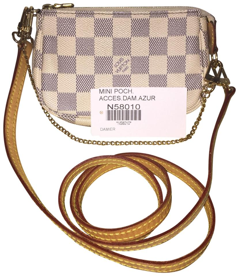 c5c16027a15c Louis Vuitton Pochette Accessoires W Mini Damier Azur Extra Leather Strap  N58010 White Coated Canvas Cross Body Bag