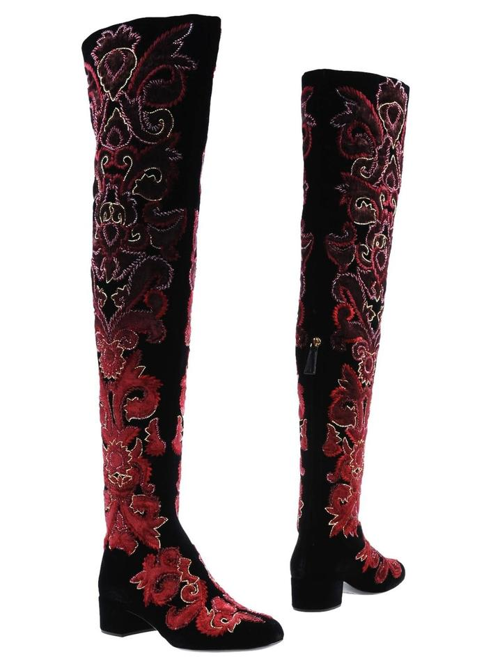 Alberta Ferretti Burgundy Thigh Gold and Brown Runway Beaded Embroidered Thigh Burgundy High Boots/Booties e5bd68