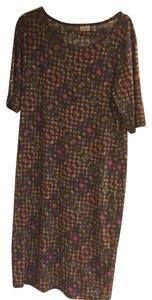 LuLaRoe short dress multi color unique print with shades of orange, green and grey on Tradesy