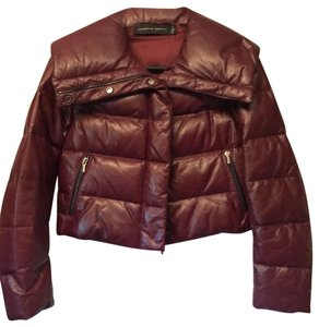 PORSCHE DESIGN Moncler Canada Goose Burberry Down maroon Leather Jacket