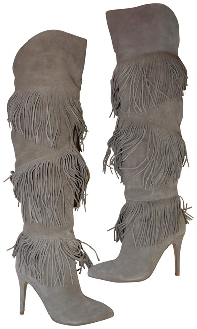 Chinese Laundry Gray Tall Fringe High Heeled Suede Boots/Booties Size US 7.5 Regular (M, B) Chinese Laundry Gray Tall Fringe High Heeled Suede Boots/Booties Size US 7.5 Regular (M, B) Image 1