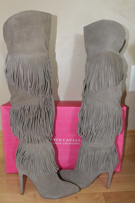 Chinese Laundry Gray Tall Fringe High Heeled Suede Boots/Booties Size US 7.5 Regular (M, B) Chinese Laundry Gray Tall Fringe High Heeled Suede Boots/Booties Size US 7.5 Regular (M, B) Image 2