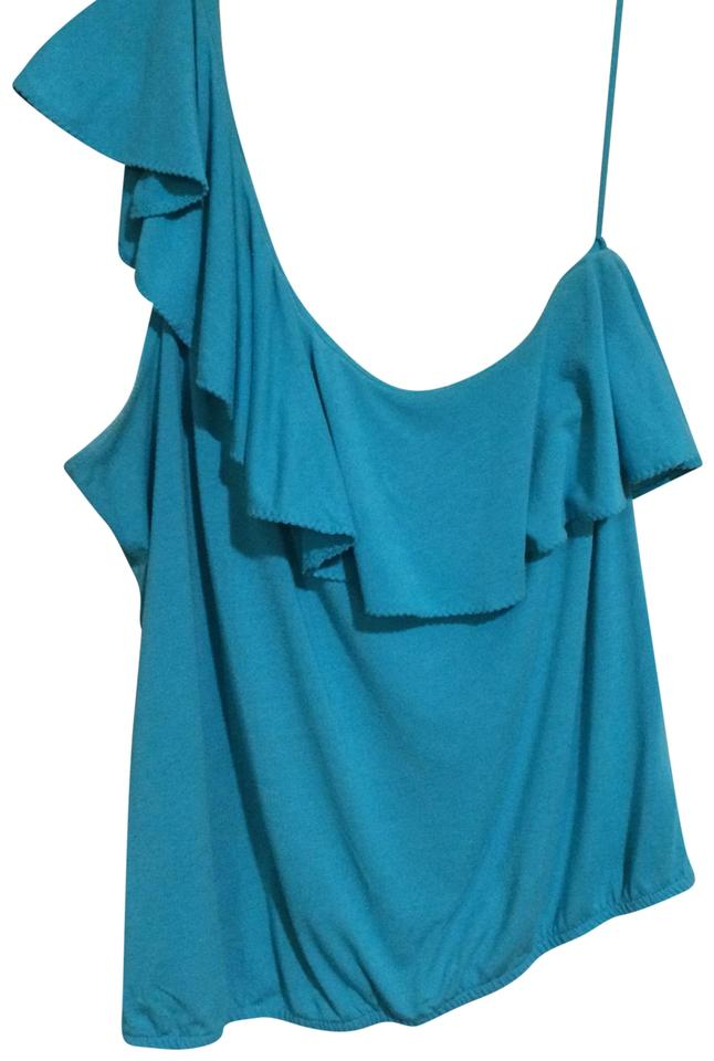 b1a5d4ec97a2 American Eagle Outfitters Blue Summer One Shoulder Tank Top Cami. Size  8 (M)  ...