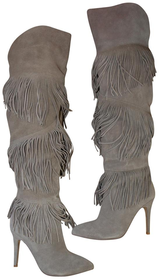 Chinese Laundry Gray Tall Fringe High Heeled Suede Bootsbooties