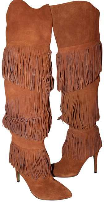 Item - Ginger Tall Fringe High Heeled Suede Boots/Booties Size US 9 Regular (M, B)