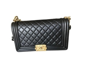 Chanel Quilted Gold Hardware Le Boy Cross Body Bag
