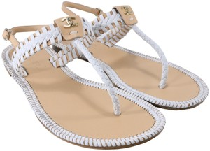 Chanel Braided Logo Resort white, nude, tan Sandals