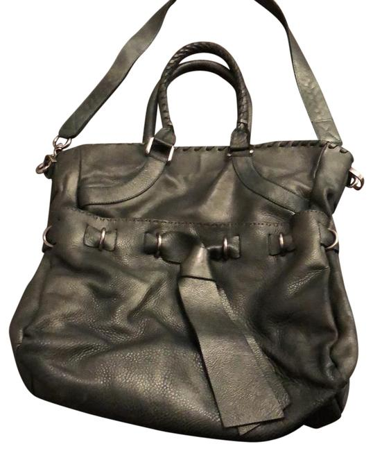 Item - Double Handle Tote with Bow Tie Green Pebbled Leather (Super Soft ) Satchel