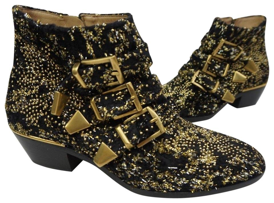 40b2d167f81 Chloé Black Susanna Gold Stud Buckle Tinsel Studded Ankle Boots/Booties