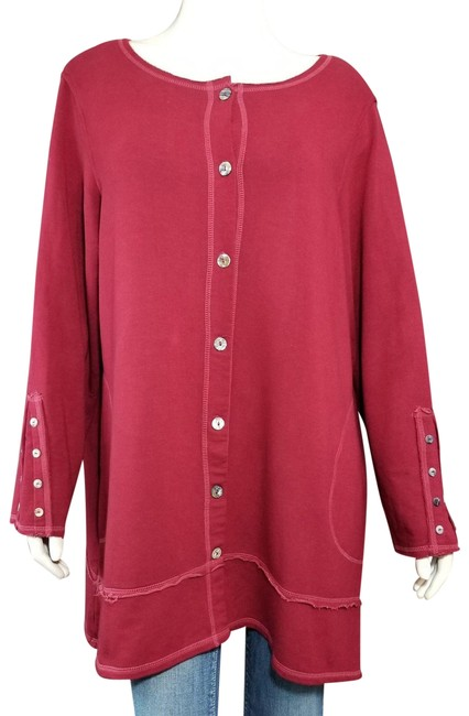Item - Red Boho Button-up French Terry Stretch Activewear Outerwear Size 18 (XL, Plus 0x)