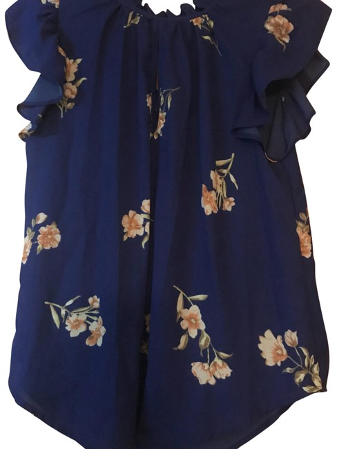 Item - Blue with Flowers Blouse Size 6 (S)