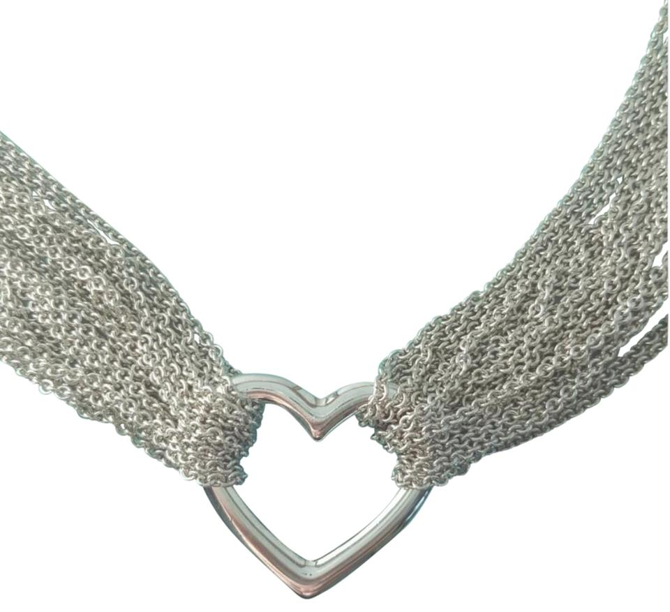 f568f03b4 Tiffany & Co. Sterling Silver Open-heart Mesh Multi-strand Toggle ...