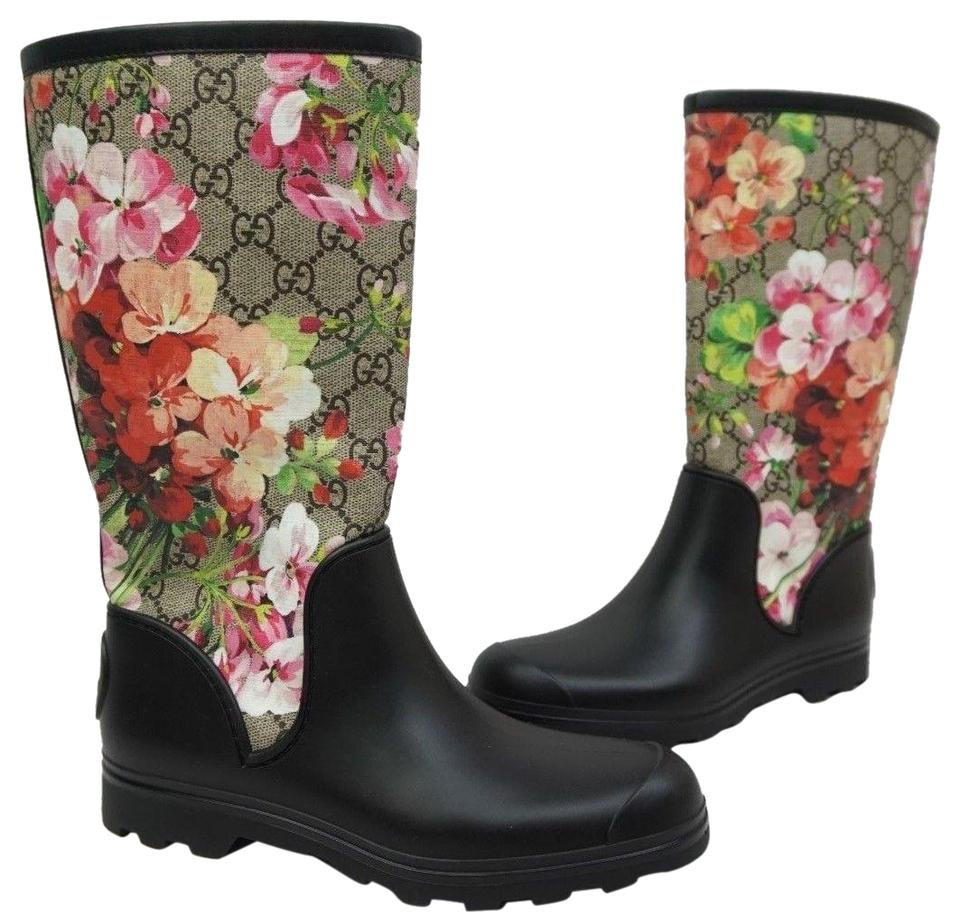 29a00e855 Gucci Black Floral Pink Prato Gg Blooms Flora Rubber Wellie Women's ...