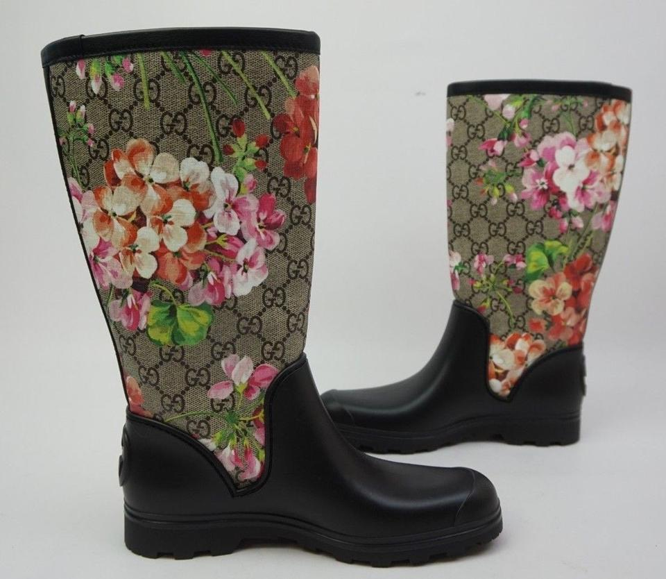 9678048cb Gucci Black Floral Pink Prato Gg Blooms Flora Rubber Wellie Women's Rain  Boots/Booties Size EU 35 (Approx. US 5) Regular (M, B) - Tradesy