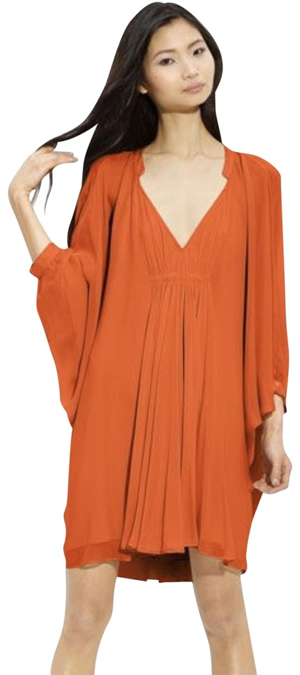 52f65059cefc Diane von Furstenberg Red/Orange Fleurette Kaftan Chiffon Cocktail Dress