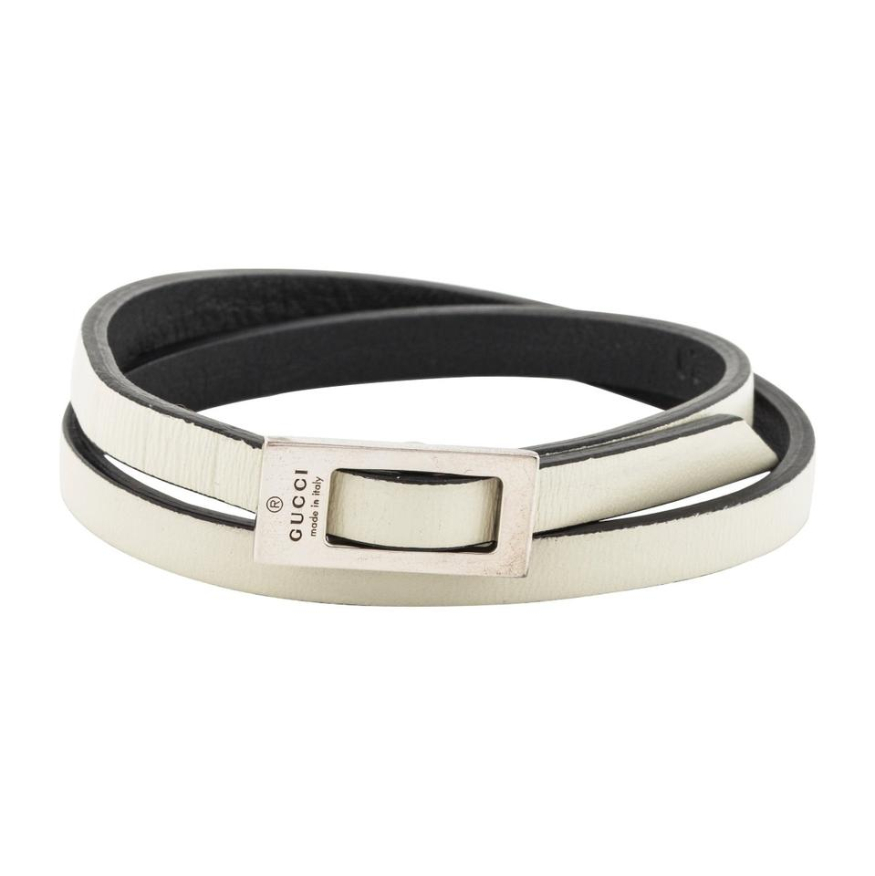 Gucci Sterling Silver Leather Wrap Bracelet Featuring Designer Engraving And Buckle Closure